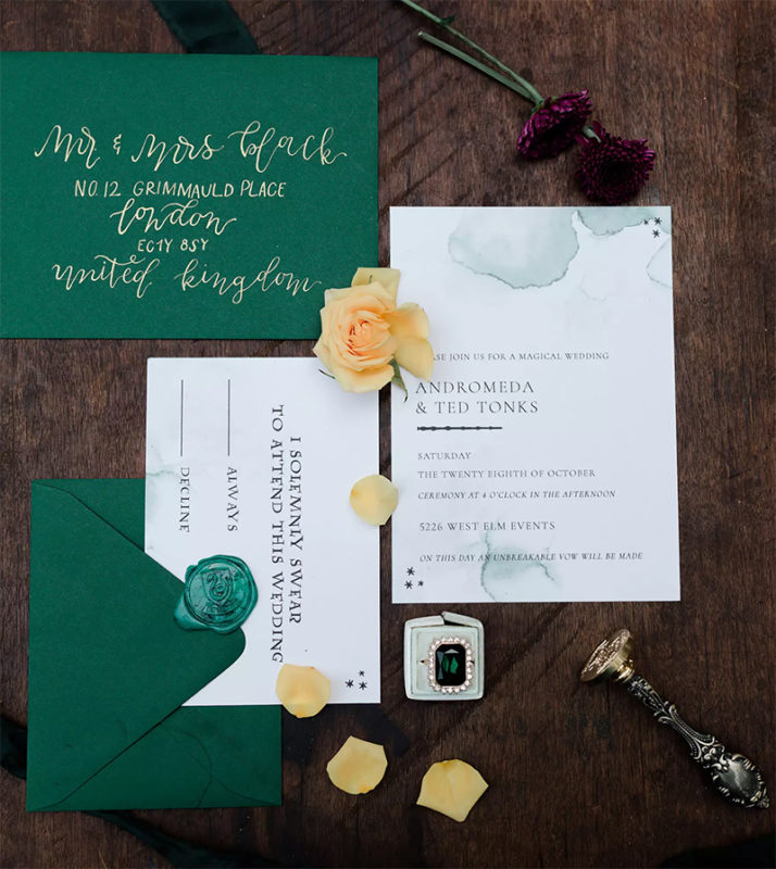 Invitaciones de boda de Slytherin, Harry Potter.